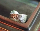 Fish In Waves Amazing Ring Sterling Silver Band From Rare Vintage Spoon Wonderful Pisces Gift