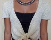Knit shrug bolero shoulder cover cream color 100% wool size S woman