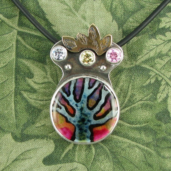 Lilac and Pink Dawn TREE Pendant - Sterling, Enamel and Stone - OOAK