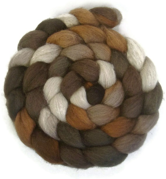 Handpainted BFL Tussah Silk Wool Roving - 4 oz. CAPPUCCINO - Spinning Fiber