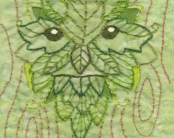 Green Man Embroidery Pattern PDF