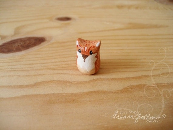 Tiny orange fox mini figure