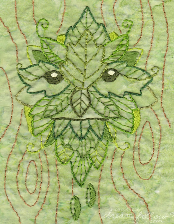 Green Man Embroidery Pattern PDF download hand embroidery patterns designs