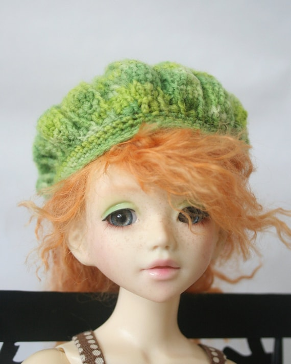 Crocheted Green BJD Hat for Unoa or Similar Head Size