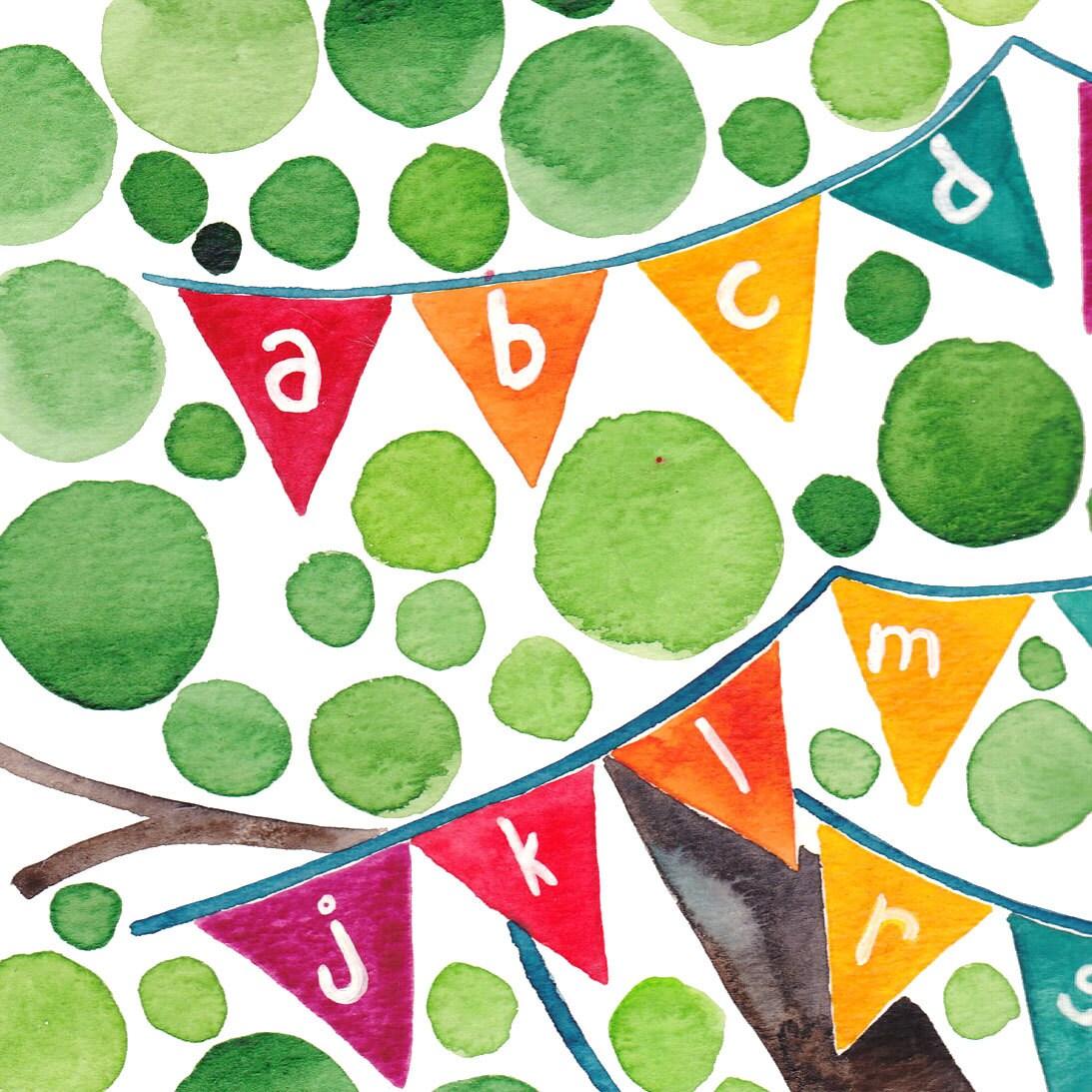 Alphabet Tree Original Watercolour Art Print Reproduction Nursery School Wall Art