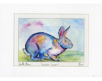 Rainbow  Easter Bunny Rabbit signed and numbered print