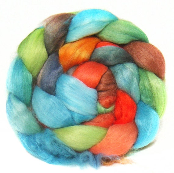 FAUX CASHMERE roving top handdyed spinning fibre 3.6 oz vegan