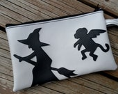 Wicked Witch and Flying Monkey Gray Vinyl Wristlet