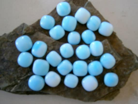 Fused Glass Cabochons, 26 in soft Blue, 12mm to 16mm Glass Cabs, Willow Glass, DIY Jewelry Design