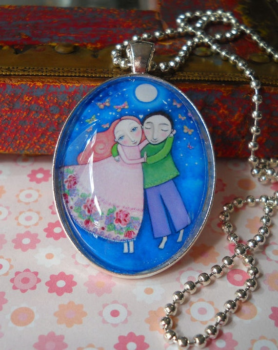 """Lovers Couple Dancers Necklace Glass Tile Oval Pendant Wedding Gift Engagement Present Boyfriend Girlfriend Jewelery Silver Plated - """"Dance"""""""