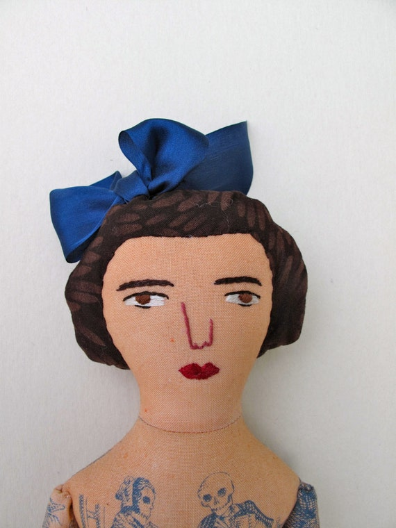 Tattooed Lady doll with Bow
