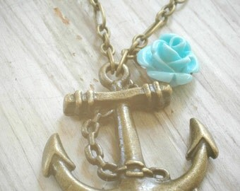 CLEARANCE: anchor & aqua rose nautical chic necklace on brass plate by val b.