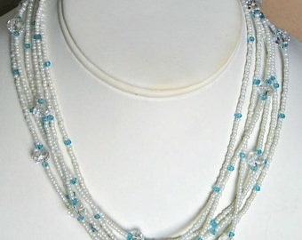 LONG 50 inch Necklace White Seed Beads with Blue and Crystal Czech Glass