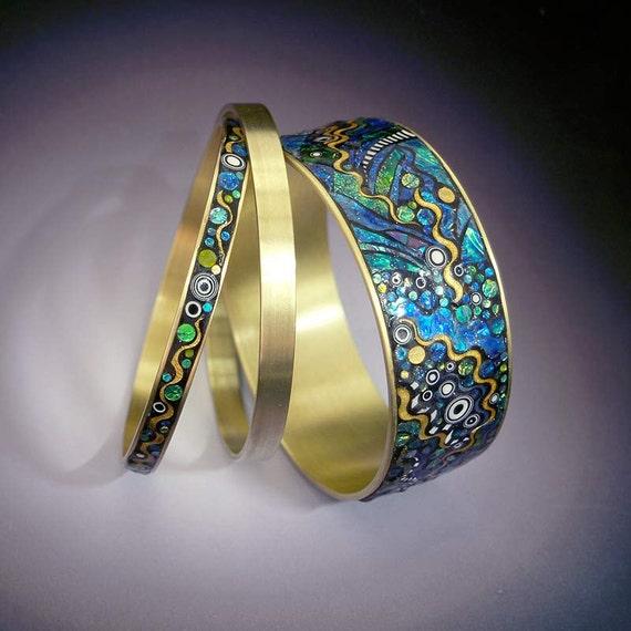 Two Water Garden Series Blue Green Iridescent Mosaic Brass Bangle Bracelets