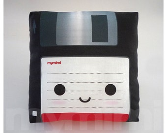 Decorative Pillow, Mini Pillow - Floppy Disk (Black)