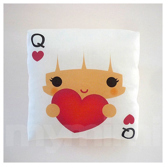 """Queen of Hearts, Decorative Pillow, White Pillow, Kawaii Girl, Kawaii Print, Throw Pillow, Girls Room Decor, Childrens Toys, 7 x 7"""""""
