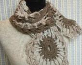 Brown Taupe Mushroom Flower Scarf, Brown Flowers Wool, OOAK Boho Chic Scarf