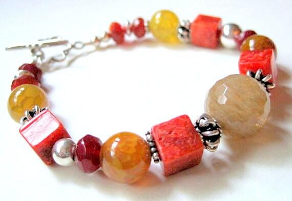 Sponge Coral Agate Bracelet, Sterling Silver Toggle Clasp