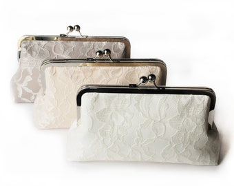 "Custom clutches, bridesmaids gifts, personalized clutches you choose the fabric XL Frame ClutchXL 8"" with Lace Overlay"