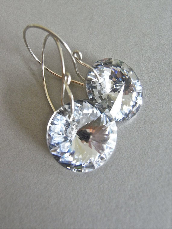 Earrings - vintage Swarovski crystal, sterling silver - Aurora