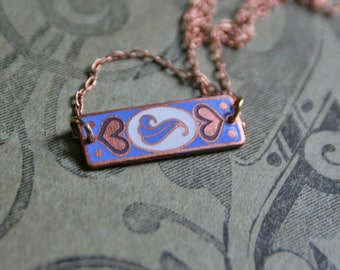Aquarius Vintage Necklace / Enamel Necklace / Gift