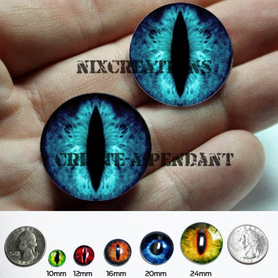 Taxidermy Glass Eyes - 20mm -  Blue Dragon Eye Cabochons for Steampunk Jewelry and Pendant Making