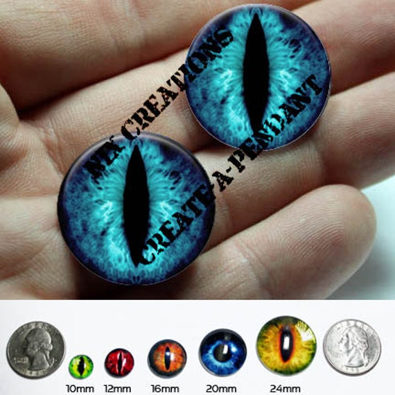 Glass Eyes - 24mm - One Inch Blue Dragon Glass Taxidermy Eyes Cabochons for Steampunk Jewelry and Pendant Making