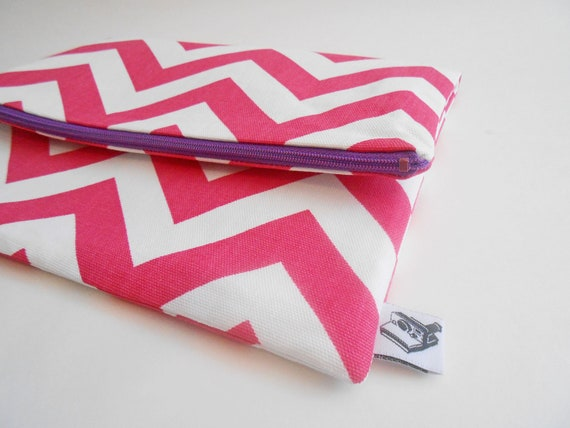 Foldover clutch  --  Hot Pink Chevron Stripes -- Only One Available