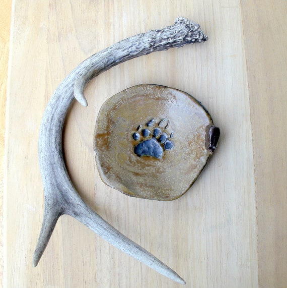 Bear Paw, Black Bear  Stoneware Trinket Dish