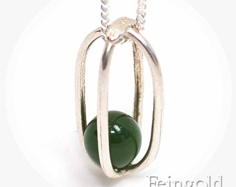 May Birthstone Green Taiwan Jade - Sterling Silver Necklace with floating stone- Free US Shipping