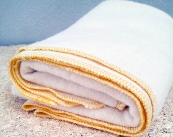 Organic Baby Blanket - Eco-friendly Receiving Blanket - Baby Shower Gift - Hemp Organic Cotton Fleece. Yellow
