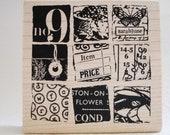number nine squares of collage rubber stamp