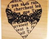 floral engraved french heart rubber stamp