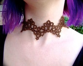 Tatted Lace Choker Necklace - Clover Cathedral - Sepia and Copper