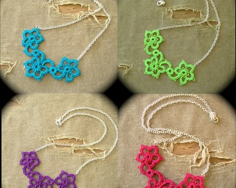 Tatted Pendant Necklace - Neon Spring Colors