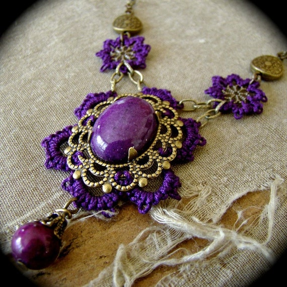 One of a Kind Tatted Necklace - Dark Purple and Brass