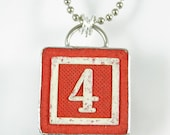 Number 4 Pendant Necklace - XOHandworks