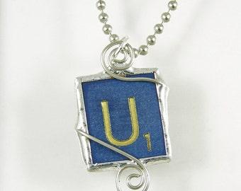 Blue Letter U Scrabble Pendant Necklace