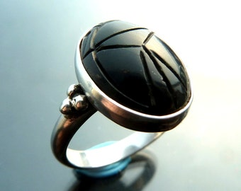 Scarab Beetle black onyx carved ring in sterling silver big bug size 6 7 8 9