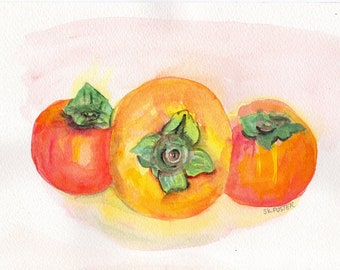 Persimmon watercolor painting, persimmons still life painting, orange fruit original painting, watercolor persimmon painting, original art