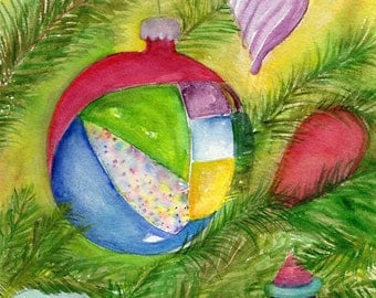 Christmas watercolor painting, Ornaments hanging on Tree watercolors paintings original , Crhistmas Decor  7 x 10 Holiday Decor