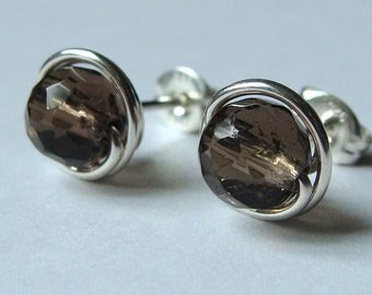Smoky Quartz Studs Faceted Earrings Wire Wrapped in Sterling Silver Post Earrings