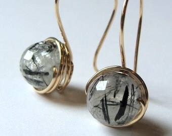 Tourmalinated Quartz Dangle Earrings Drop Earrings Beaded Earrings in 14K Yellow Gold Filled