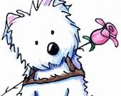 Original Westie Art Terrier Dog Pink Kilt Illustration ACEO
