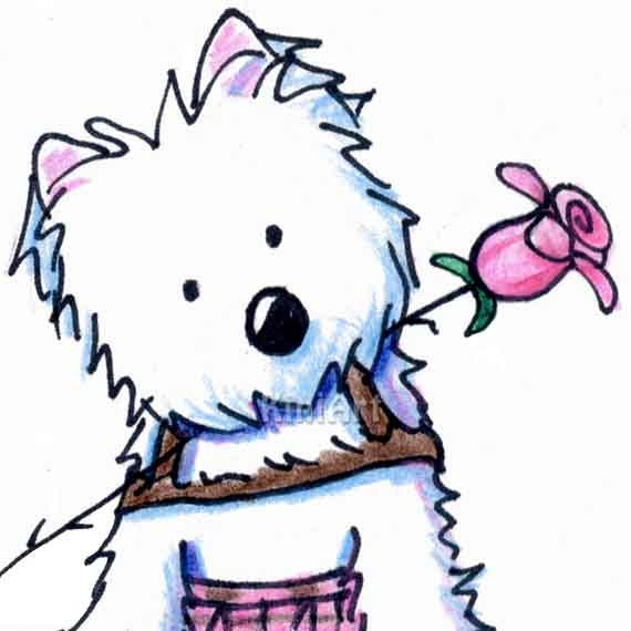 Original Westie Art Terrier Dog Pink Kilt Illustration ACEO