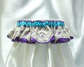 Cute and sexy Ashley garter - ivory lace with aqua blue ribbon and royal purple satin