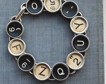 Recycled TYPEWRITER Key BRACELET MIXED Black And Light Keys One of  A Kind Unique