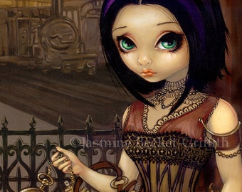 Poe steampunk train fairy art print by Jasmine Becket-Griffith 8x10