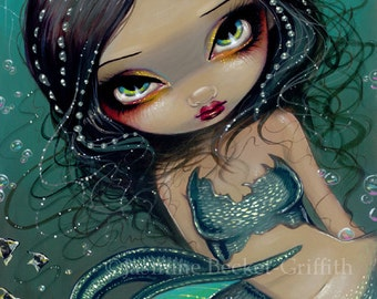 Pearl Swirl Mermaid ocean bubble fairy art print by Jasmine Becket-Griffith12x16 BIG