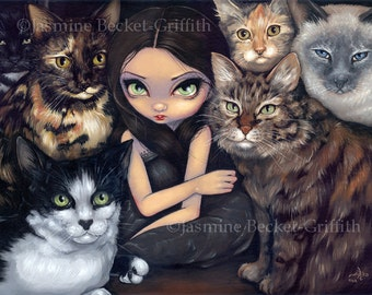 It's All About the Cats maine coon siamese kitty fairy art print by Jasmine Becket-Griffith12x16 BIG